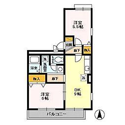 千葉県千葉市緑区おゆみ野中央7の賃貸アパートの間取り