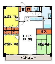 カサグランデ筑紫[3階]の間取り