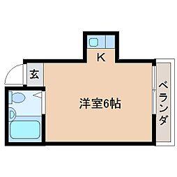 近鉄南大阪線 高田市駅 徒歩3分の賃貸マンション 2階ワンルームの間取り