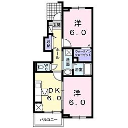 ホワイトルーム寺脇B[1階]の間取り