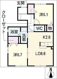 エスポワール桃山 A棟[1階]の間取り