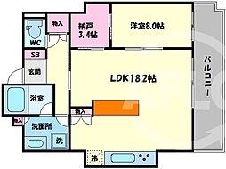 N4.TOWER 21階1SLDKの間取り