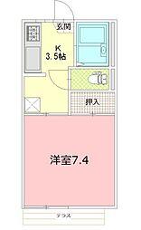 静岡県御殿場市北久原の賃貸アパートの間取り