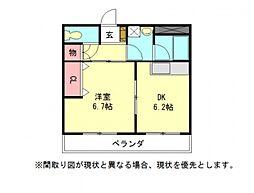 愛知県一宮市三ツ井8丁目の賃貸アパートの間取り