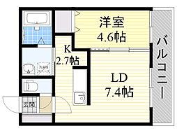 JR函館本線 手稲駅 徒歩7分の賃貸マンション 2階1LDKの間取り
