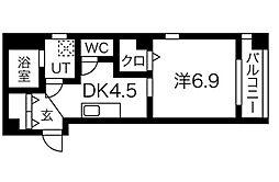 名鉄名古屋本線 堀田駅 徒歩10分の賃貸マンション 2階1DKの間取り