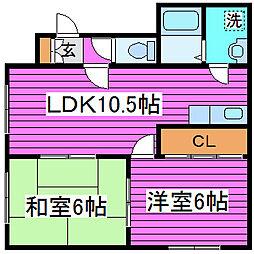 北海道札幌市東区北四十七条東18丁目の賃貸アパートの間取り