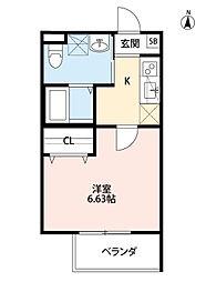 JR関西本線 加美駅 徒歩9分の賃貸アパート 3階1Kの間取り