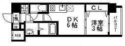 オリエンテム 2階1DKの間取り