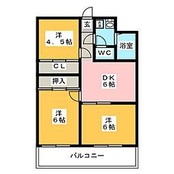 ビュークレスト折立[11階]の間取り