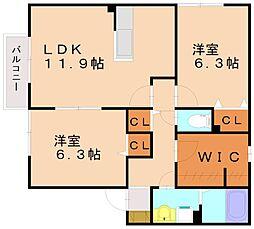 試験場前ハウス[2階]の間取り