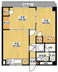 博多駅東コーポ[3階]の間取り