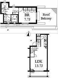 東京メトロ南北線 麻布十番駅 徒歩21分の賃貸マンション 3階1LDKの間取り