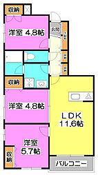 本町アパートメントF[2階]の間取り