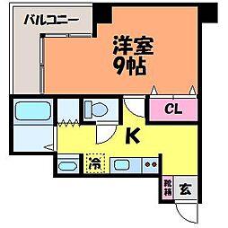 愛媛県松山市平和通1丁目の賃貸マンションの間取り