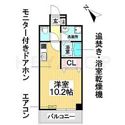 名古屋市営桜通線 野並駅 徒歩2分の賃貸マンション 8階ワンルームの間取り