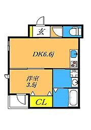 目黒本町5丁目新築 3階1DKの間取り