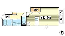 兵庫県姫路市飾磨区付城1丁目の賃貸アパートの間取り