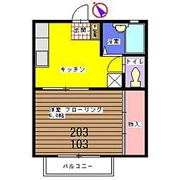 トレス米倉[203号室]の間取り