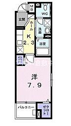 JR山陽本線 倉敷駅 徒歩15分の賃貸マンション 5階1Kの間取り