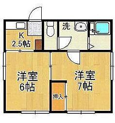 中田荘[1階]の間取り