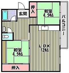 金剛第三住宅220棟[2階]の間取り