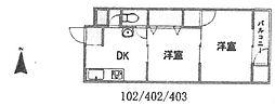 浅堀マンション[402号室]の間取り
