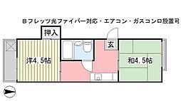 津田沼ハウス[215号室]の間取り