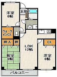ハーティス宝塚II[2階]の間取り