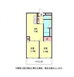 愛知県一宮市北今字苗代三ノ切の賃貸アパートの間取り