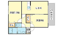 兵庫県神崎郡福崎町福田の賃貸アパートの間取り