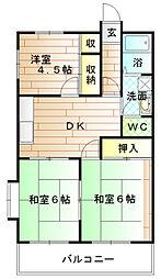 福岡県宗像市田久2丁目の賃貸マンションの間取り