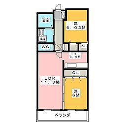 愛知県名古屋市中川区富船町3丁目の賃貸マンションの間取り