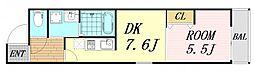 フジパレス太子橋5番館 3階1DKの間取り