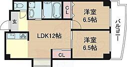 ドムール三国3番館 4階2LDKの間取り
