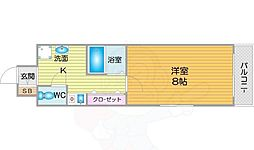 Osaka Metro四つ橋線 住之江公園駅 徒歩10分の賃貸マンション 5階1Kの間取り
