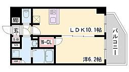 プレサンス THE 神戸 15階1LDKの間取り