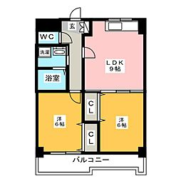 YGM筥松21[3階]の間取り