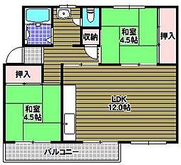 公団狭山住宅7号棟[2階]の間取り