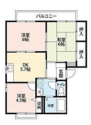 福岡県北九州市八幡西区白岩町の賃貸アパートの間取り