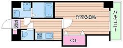Luxe西田辺[2階]の間取り