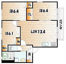 コモンシティ志井II E棟[2階]の間取り