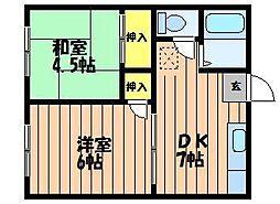 エフシリーズ東富井A棟[2階]の間取り