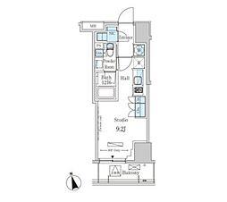 パークアクシス南青山七丁目 8階ワンルームの間取り