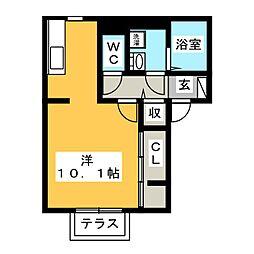 (仮)D-room海老名市国分南 1階ワンルームの間取り