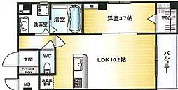 Osaka Metro千日前線 北巽駅 徒歩15分の賃貸マンション 6階1LDKの間取り