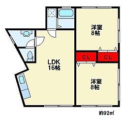 白水ヶ丘2丁目アパート[2階]の間取り