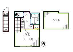 都営大江戸線 西新宿五丁目駅 徒歩3分の賃貸アパート 2階1Kの間取り