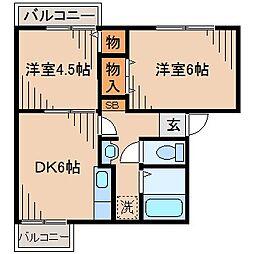 神奈川県横浜市神奈川区白幡向町の賃貸アパートの間取り