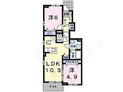 南海高野線 萩原天神駅 徒歩10分の賃貸アパート 1階2LDKの間取り